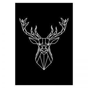 Deer Lines Black poster