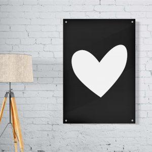 Heart Black plexiglas poster