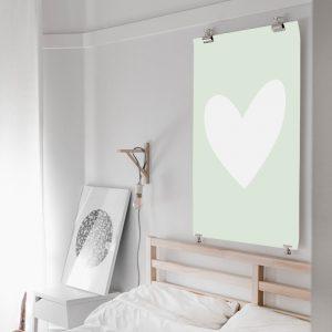 Pastel Green Heart poster