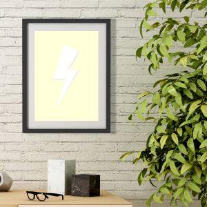 Pastel Yellow Thunder poster