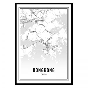 Hongkong city maps poster