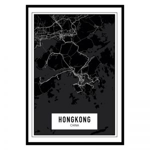 Hongkong Dark city maps poster