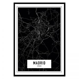 Madrid Dark city maps poster