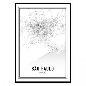 Sao Paulo city maps poster