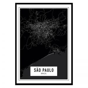 Sao Paulo Dark city maps poster