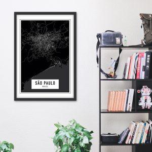 Sao Paulo Dark city maps poster