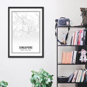 Singapore city maps poster