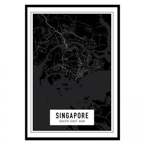 Singapore Dark city maps poster