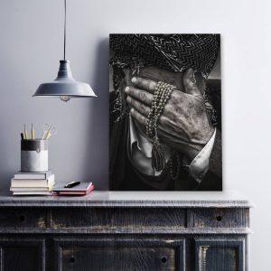Aluminium Dibond Plexiglas Shy Hand zwart wit poster