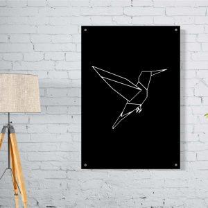Bird Lines Dark aluminium poster