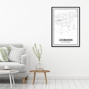 Leeuwarden city maps poster