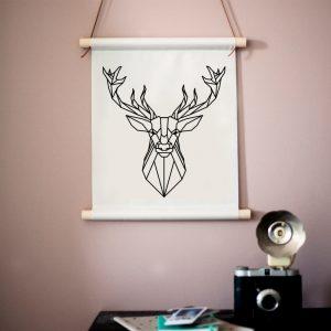 Deer Lines textielposter