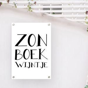 Zon Boek Wijntje tuinposter