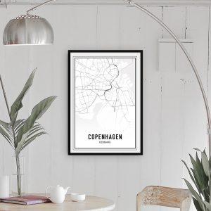 Kopenhagen city maps poster