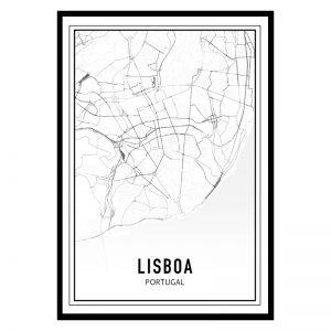 Lissabon city maps poster