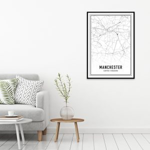 Manchester city maps poster