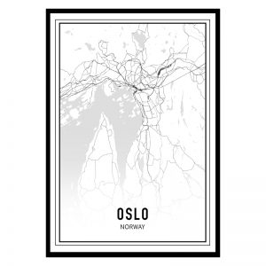 Oslo city maps poster