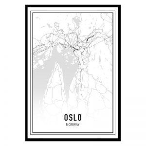 Oslo city maps poster