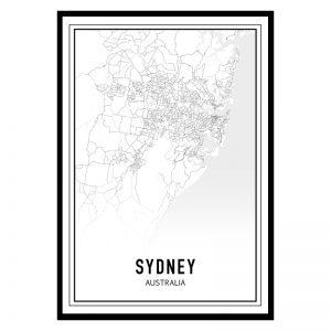 Sydney city maps poster