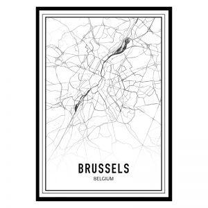 Brussel city maps poster