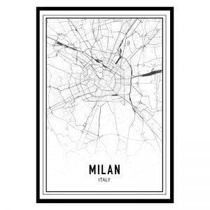 Milaan city maps poster