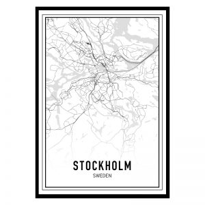Stockholm city maps poster