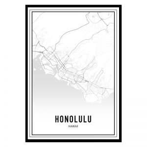 Honolulu city maps poster