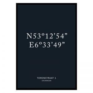 Coördinaten poster blauw