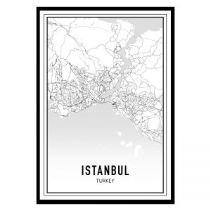 Istanbul city maps poster
