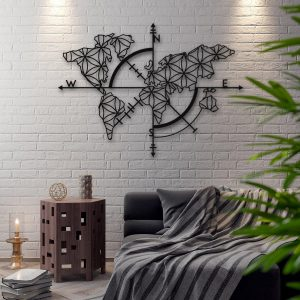 Metalen wanddecoratie - World Map 1