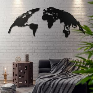 Metalen wanddecoratie - World Map 2