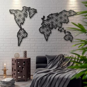 Metalen wanddecoratie - World Map 4