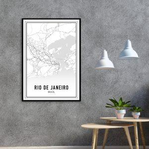 Rio de Janeiro city maps poster