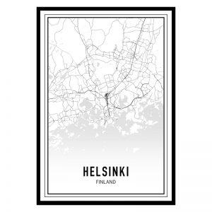 Helsinki city maps poster