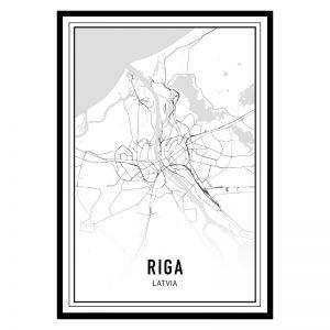 Riga city maps poster