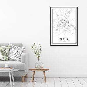 Sevilla city maps poster