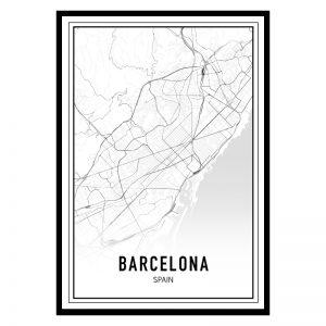 Barcelona city maps poster