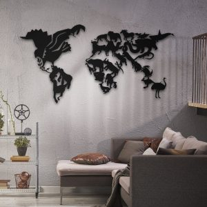 Metalen wanddecoratie - World Map 5