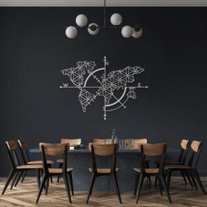 Metalen wanddecoratie - World Map Wit