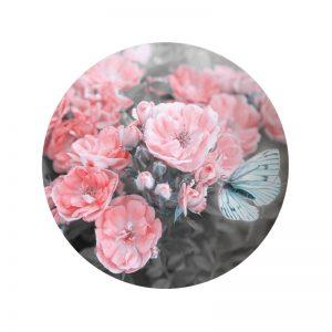 Behangcirkel - Bloemen Roze
