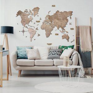 Houten Wereldkaart 2D - Terra