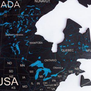 Houten Wereldkaart 2D - Zwart