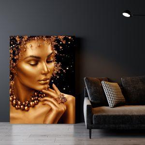 Aluminium Dibond Plexiglas zwart goud Gold Women poster