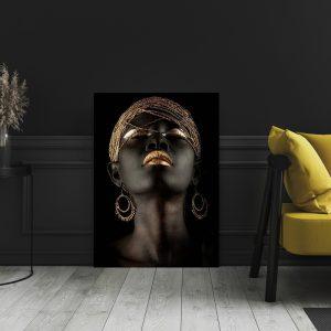 Aluminium Dibond Plexiglas zwart goud Luxery Women poster