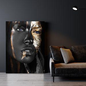 Aluminium Dibond Plexiglas zwart goud Mystery Women poster