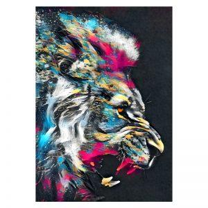 Aluminium Dibond Plexiglas Painted Lion poster