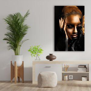 Aluminium Dibond Plexiglas zwart goud Painted Women poster