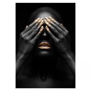 Aluminium Dibond Plexiglas zwart goud Shy Women poster