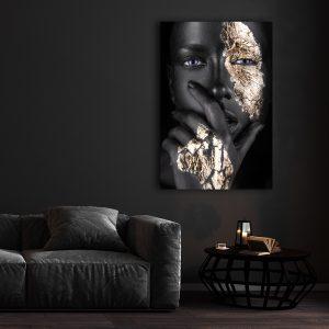 Aluminium Dibond Plexiglas zwart goud Silent Women poster