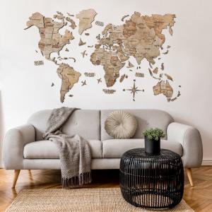 Houten Wereldkaart 3D - Terra